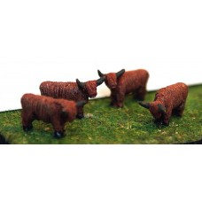 A105 4 Assorted Highland Cattle Unpainted Kit N Scale 1:148