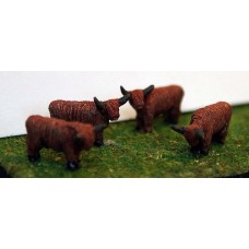 A105p Painted 4off Highland Cattle N Scale 1:148