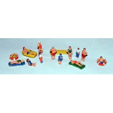 A110 Beach Set (figures and equipment) Unpainted Kit N Scale 1:148