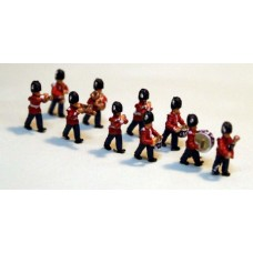A113p Painted 10off Guards Marching Band N Scale 1:148