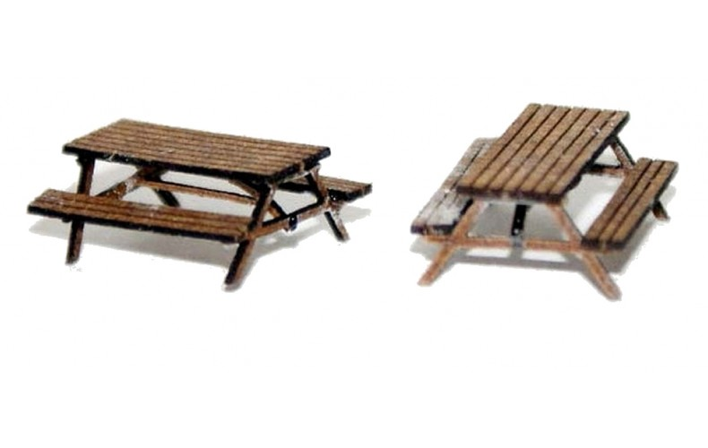 A116 2 x Pub Table/bench (real wood) Unpainted Kit N Scale 1:148