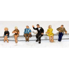 A119 6 Seated Passengers / Figures Set 2 Unpainted Kit N Scale 1:148