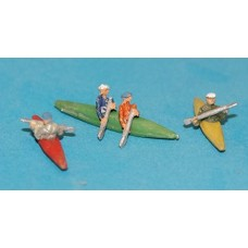A125 3 canoes/kayaks and paddling figures Unpainted Kit N Scale 1:148