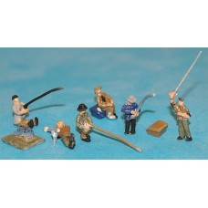 A126p Painted 6 Fishermen & Equipment  N Scale 1:148