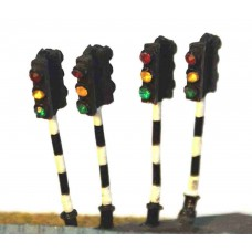 A16 4 Traffic lights - double head Unpainted Kit N Scale 1:148