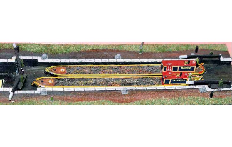 A18 Canal set - 2 boats, 4 lock gates Unpainted Kit N Scale 1:148
