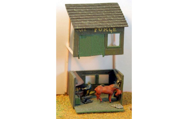 A24 Village Blacksmith & Forge scene Unpainted Kit N Scale 1:148