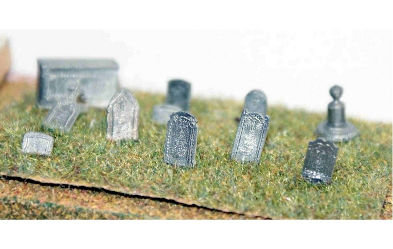 A36 Grave & Tombstones - assorted Unpainted Kit N Scale 1:148