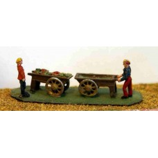 A42 2 Costermongers & barrows  Unpainted Kit N Scale 1:148