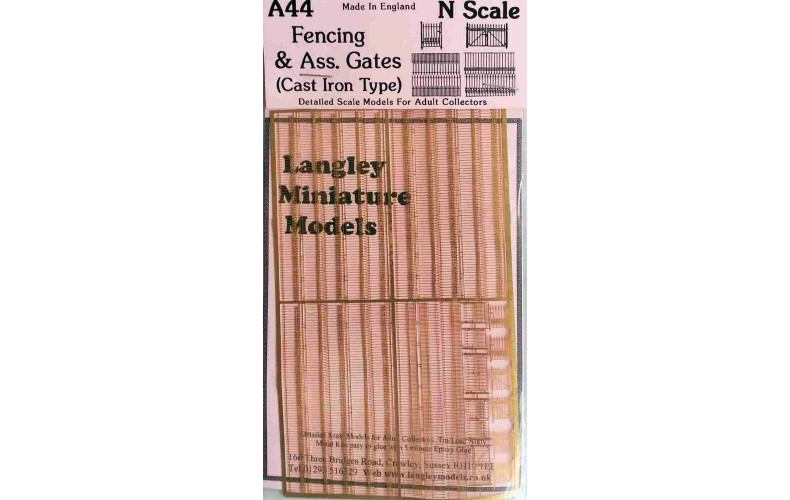 A44 Fencing and gates -etched brass Unpainted Kit N Scale 1:148