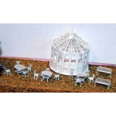 A48 Conservatory, chairs & tables Unpainted Kit N Scale 1:148