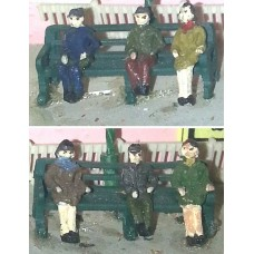 A4 4 station seats & figures Unpainted Kit N Scale 1:148