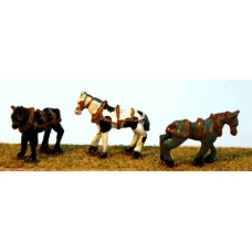 A58 3 Harnessed Horses Unpainted Kit N Scale 1:148
