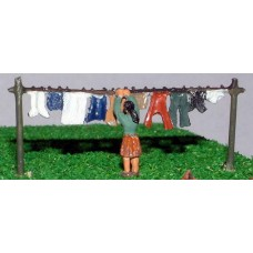 A62p Painted Washing Line & Figure  N Scale 1:148