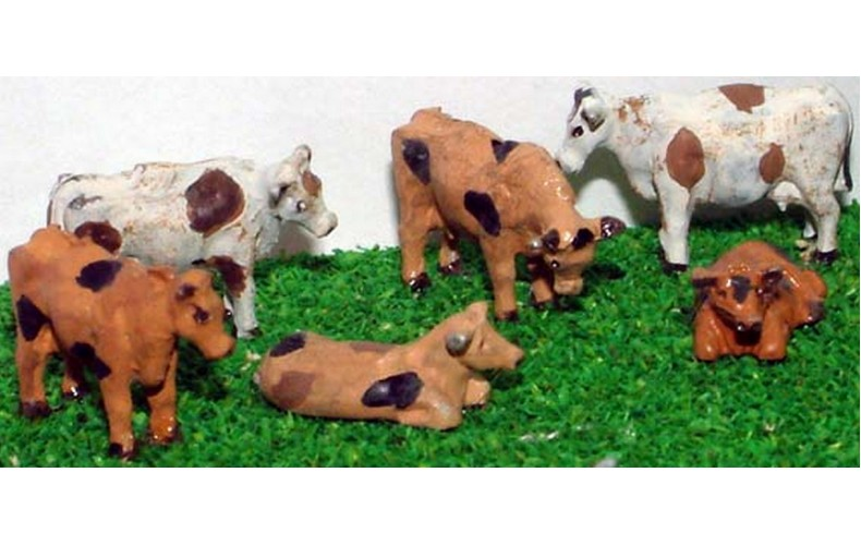 A63 6 Assorted Cows Unpainted Kit N Scale 1:148