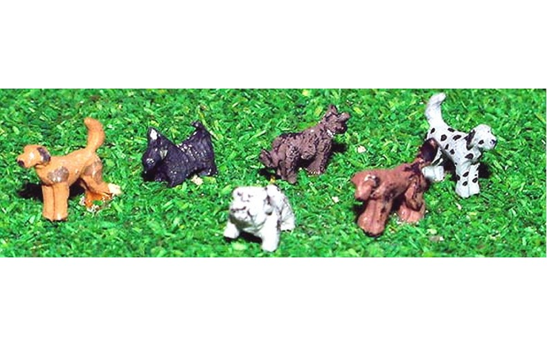 A66 6 Assorted Dogs Unpainted Kit N Scale 1:148