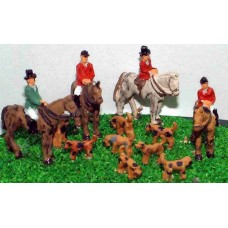 A67 Hunt Scene-4 horses & riders 8 hounds Unpainted Kit N Scale 1:148