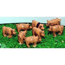 A69 8 Pigs Unpainted Kit N Scale 1:148