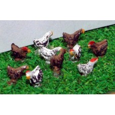 A71p Painted Chickens 10 off  N Scale 1:148