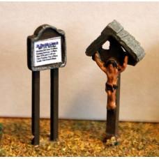 A84 Church Notice Board & Crucifix Unpainted Kit N Scale 1:148