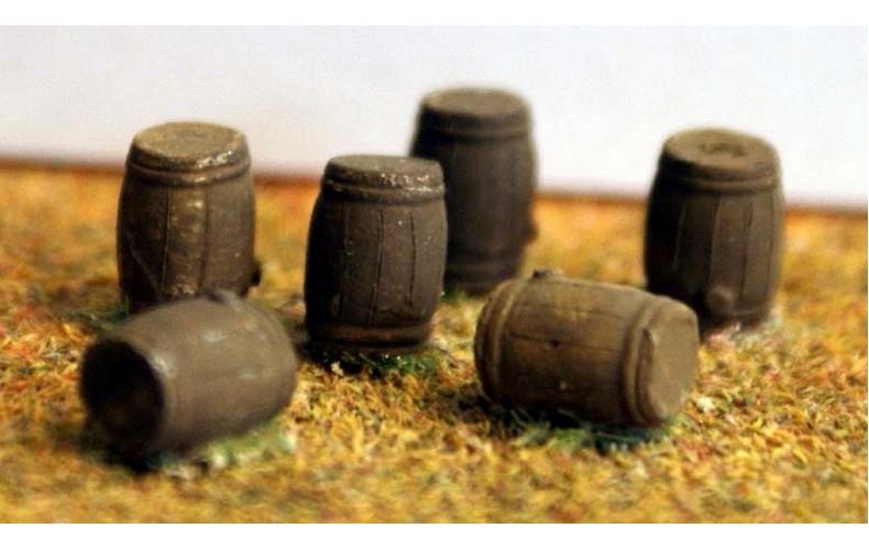 A86 6 Large (50 gallon) Oak Barrels Unpainted Kit N Scale 1:148