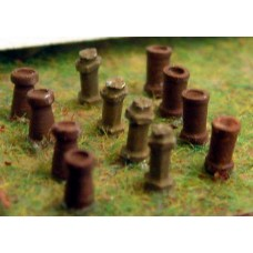 A90 12 Chimneys(round/tapered/Hexagonal) Unpainted Kit N Scale 1:148