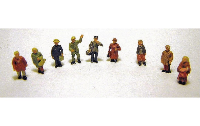A96 9 x Ass Standing Station figures Unpainted Kit N Scale 1:148