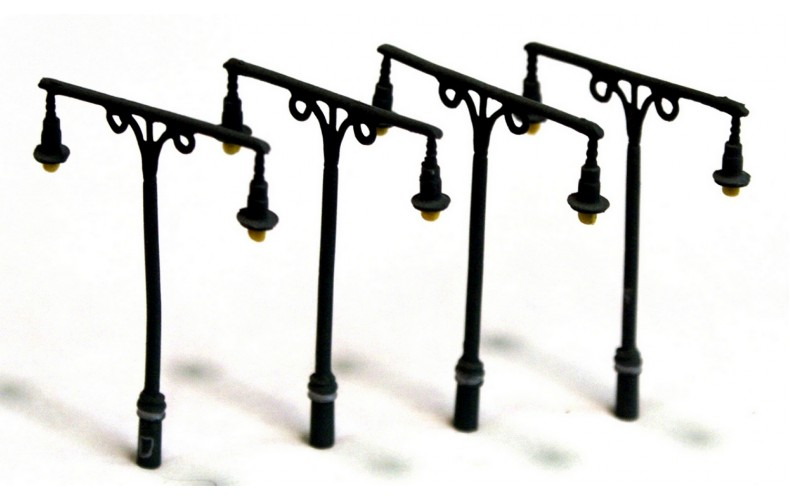 D21 4 x Tall Station Lamps Twin Head Unpainted Kit N Scale 1:148