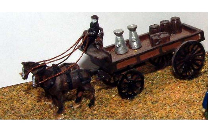 E15 Delivery trolley - 2 horse Unpainted Kit N Scale 1:148