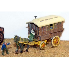 E17 Gypsy caravan, horse & figures Unpainted Kit N Scale 1:148