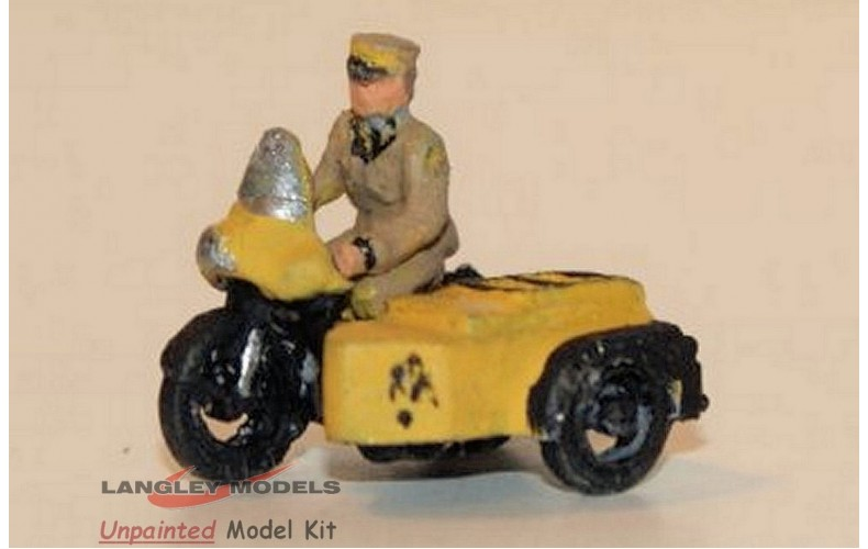 E44a AA Motorcyle & Sidecar and riding fig Unpainted Kit N Scale 1:148