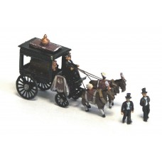 E48 Horse Drawn Hearse + figures Unpainted Kit N Scale 1:148
