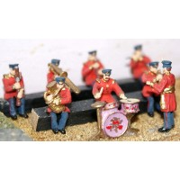 F107 Seated Band-Civil Uniform (8 figures) Unpainted Kit OO Scale 1:76