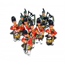 F109a Kilted Pipe & Drums Band (10 figures) Unpainted Kit OO Scale 1:76