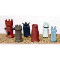 F111a 6 large Chimney pots(Kings & Queens) F111a Unpainted Kit OO Scale 1:76
