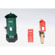 F11p Painted 3 different Victorian Pillar Boxes OO Scale 1:76