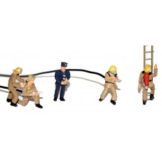 F134a 5 Modern/70's Firefighters (breath aparatus)  Unpainted Kit OO Scale 1:76