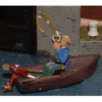 F136 Rowing boat & fisherman Unpainted Kit OO Scale 1:76