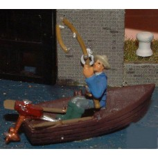 F136 Rowing boat & fisherman Unpainted Kit OO Scale 1:76