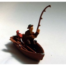 F136p Painted Rowing Boat and Fisherman OO 1:76 Scale Model Kit