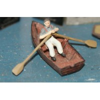 F137 Rowing boat & rowing figure Unpainted Kit OO Scale 1:76
