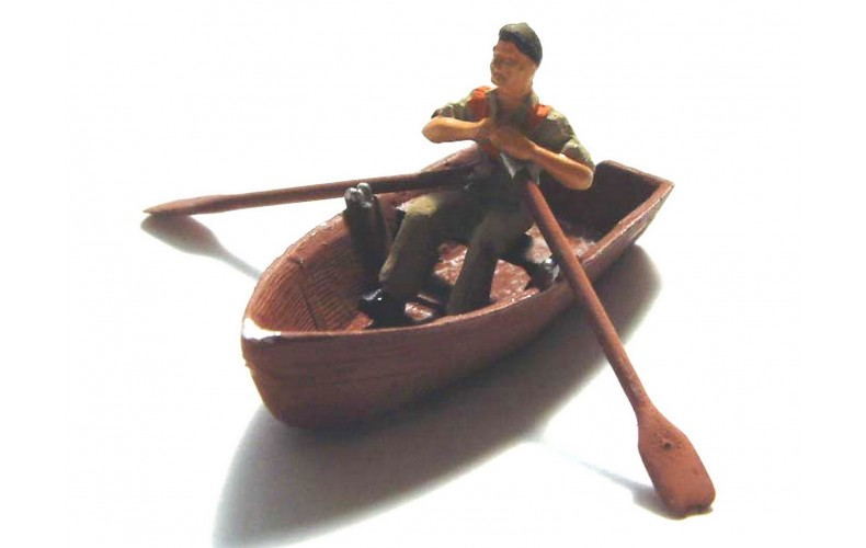 F137p Painted Rowing Boat and rowing figure OO 1:76 Scale Model Kit