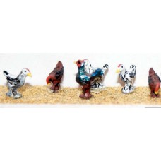 F142p Painted 6 Assorted Chickens OO Scale 1:76 Painted Model