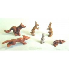 F145p Painted Foxes hares & rabbits OO Scale 1:76 Painted Model