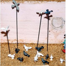 F148 12 assorted Doves & pigeons Unpainted Kit OO Scale 1:76