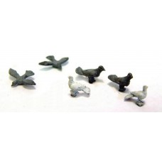 F148p Painted 6 Doves & Pigeons OO Scale 1:76 Painted Model