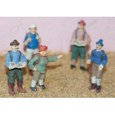 F157p Painted 5 x Hiking Figures OO 1:76 Scale Model Kit