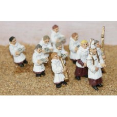 F158 10 Clergymen & Choirboys Unpainted Kit OO Scale 1:76