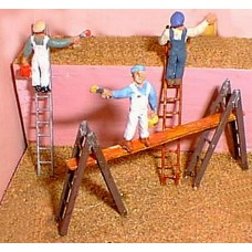 F171dp Painted 4 Workman/painters with ladders OO 1:76 Scale Model Kit