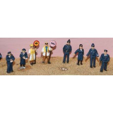 F188p Painted 8 ass Police traffic warden xing figs OO Scale 1:76